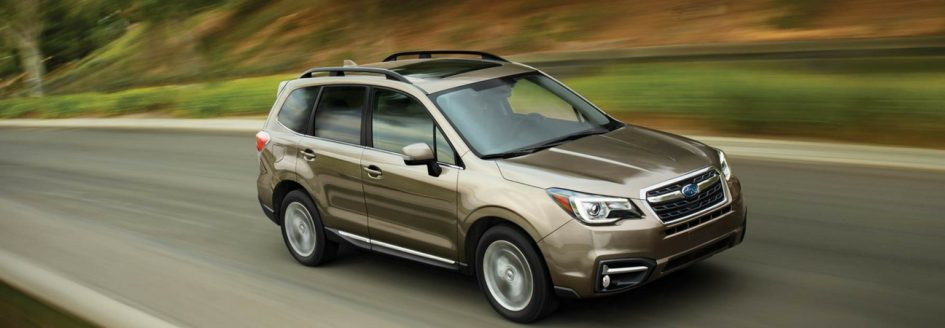 Subaru Forester driving down the countryside