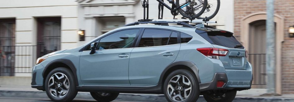Light blue 2019 Subaru Crosstrek parked curbside